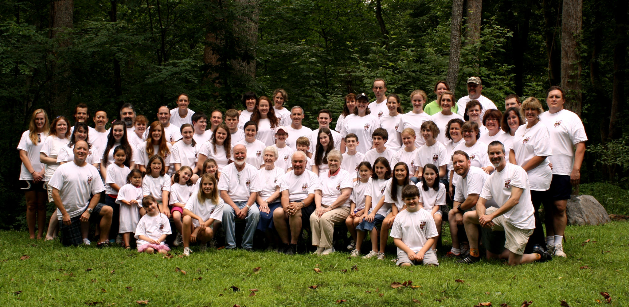 Dale, Gail, and Dennis, with their spouses and almost all of their children and grandchildren, on 17 July 2012